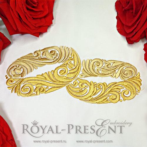 Дизайн машинной вышивки Обручальные кольца
