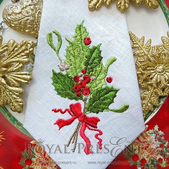 Дизайн машинной вышивки Новогодний букетик с ягодами