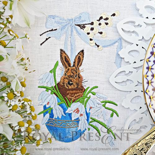 Дизайн машинной вышивки Пасхальный Кролик