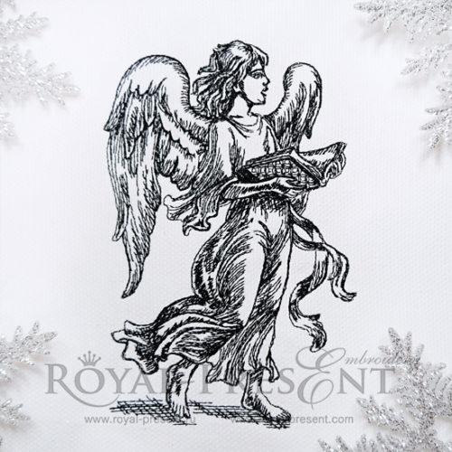 Рождественский Дизайн машинной вышивки Поющий Ангел