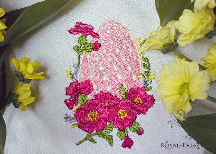 Дизайн для машинной вышивки Элегантное пасхальное яйцо с мальвой