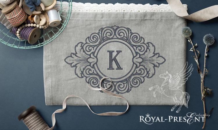 Дизайн машинной вышивки Обрамление для монограммы в стиле барокко