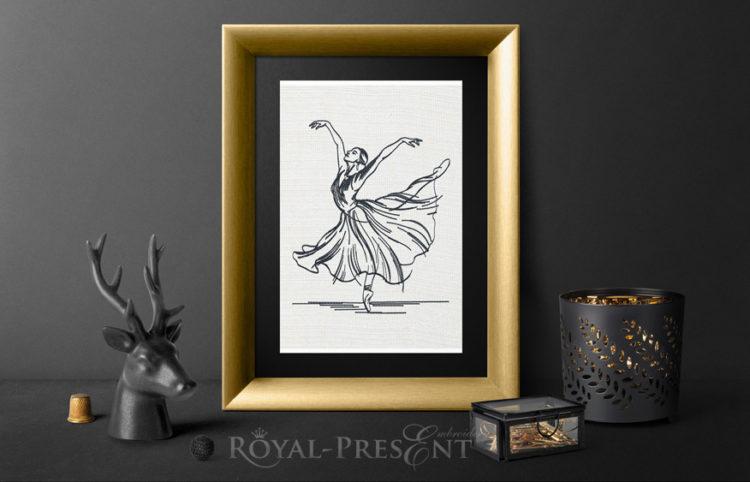 Дизайн машинной вышивки Балерина