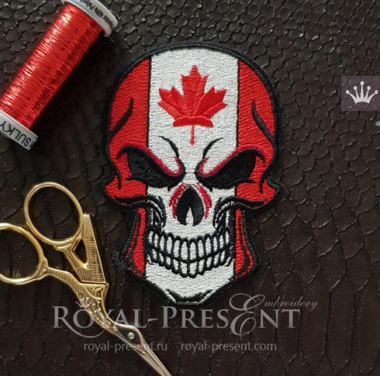 Дизайн машинной вышивки Череп флаг Канады