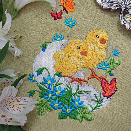 Дизайн машинной вышивки Пасхальные Цыплята в яйце