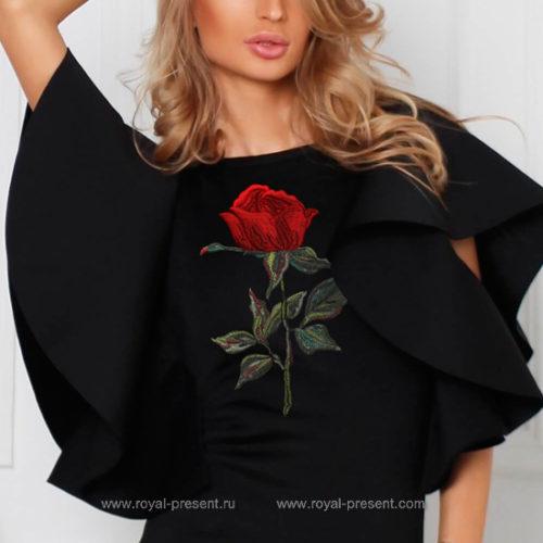 Дизайн машинной вышивки Алая Роза - 4 размера