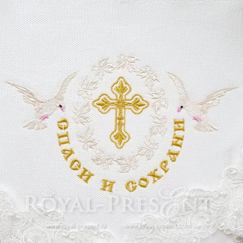 Дизайн машинной вышивки Крест с надписью Спаси и Сохрани