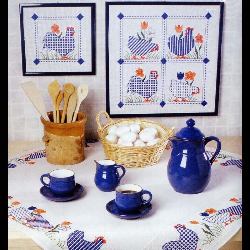 Дизайн для машинной вышивки крестом - Набор элементов для украшения стола к Пасхе