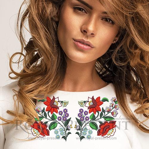 Дизайн машинной вышивки Трансильванский цветочный узор