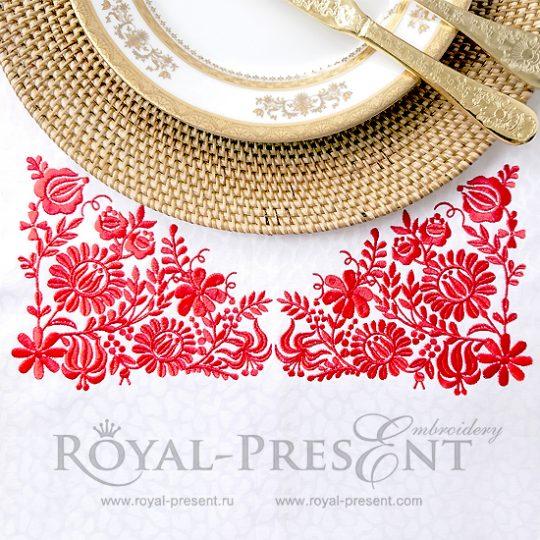 Дизайн машинной вышивки Венгерский красный узор