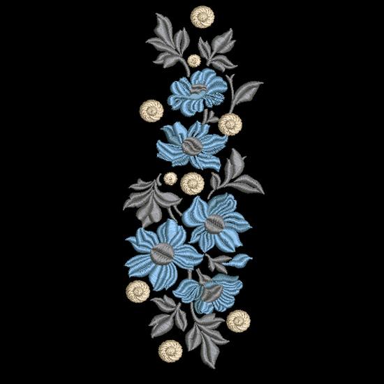 Дизайн машинной вышивки Красивые голубые цветы
