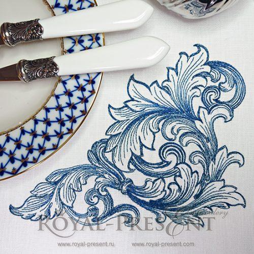 Дизайн машинной вышивки Угловой элемент в стиле барокко 2 размера