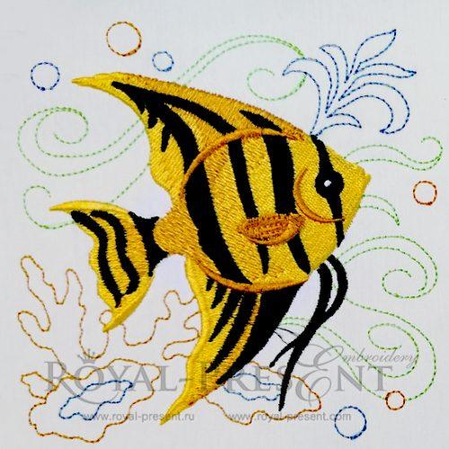 Дизайн машинной вышивки бесплатно Морская рыбка