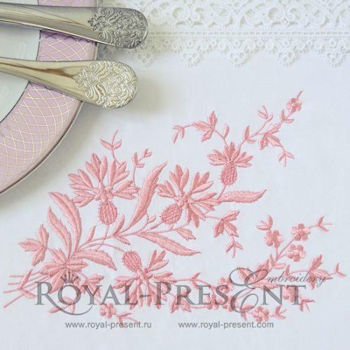 Дизайн машинной вышивки Винтажный декор с васильками