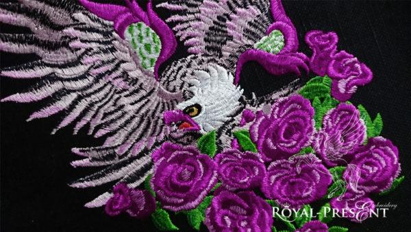 Дизайн для машинной вышивки Орел с розами