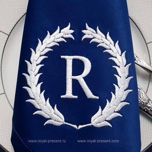 Дизайн машинной вышивки Венок для монограммы