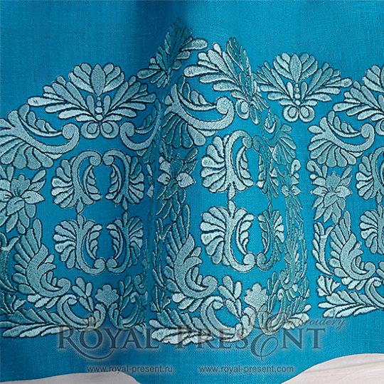 Дизайн машинной вышивки Голубой Венгерский бордюр