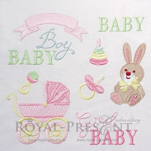 Набор дизайнов машинной вышивки для новорожденных