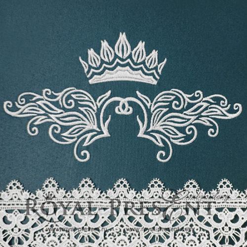 Дизайн машинной вышивки Декоративный элемент с короной