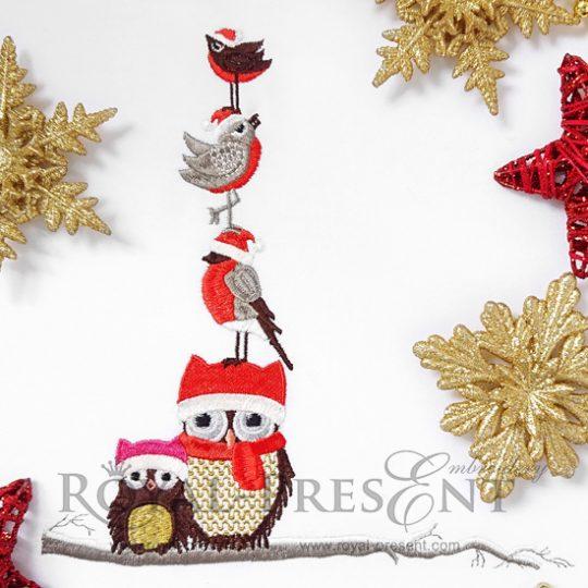 Дизайн машинной вышивки Рождественские Совы на веточке