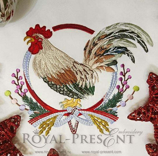Дизайн машинной вышивки Красочный петух