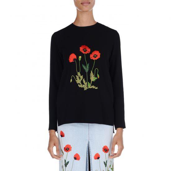 Дизайн машинной вышивки Маки цветущие