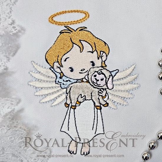 Дизайн машинной вышивки Милый ангел с маленькой овечкой