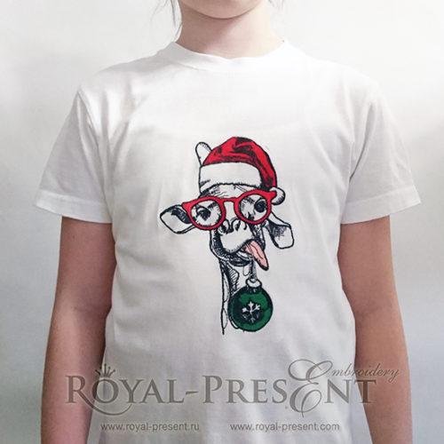 Дизайн машинной вышивки Жираф в колпаке Деда Мороза