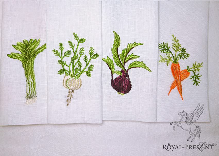 Набор из 4 дизайнов машинной вышивки Овощи