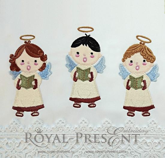 Три дизайна машинной вышивки Рождественские Ангелы