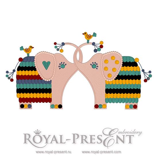 Дизайн машинной вышивки Два слона