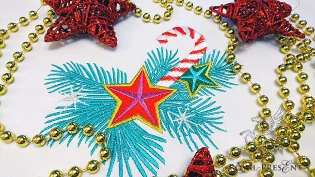 Дизайн машинной вышивки Новогодний леденец