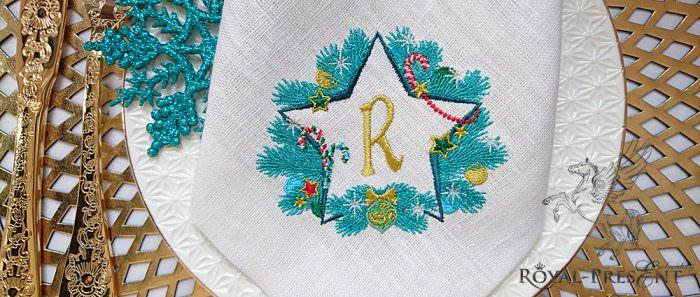 Дизайн машинной вышивки Новогодняя звезда для монограммы