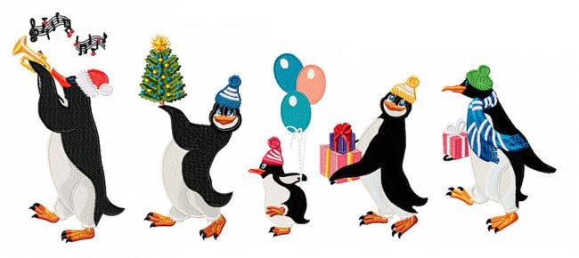 Новогодние Дизайны машинной вышивки Пингвины