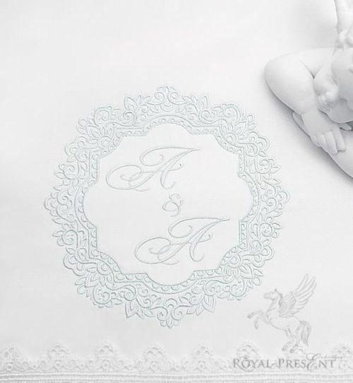 Дизайн машинной вышивки Винтажное обрамление для монограммы