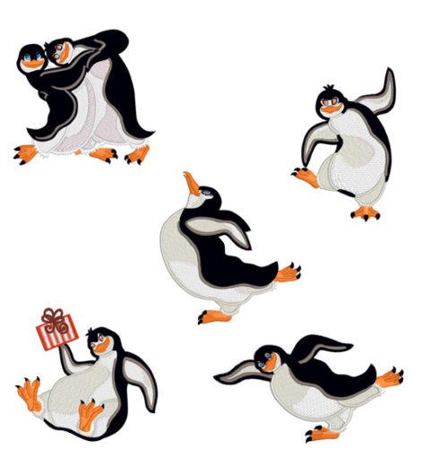 Дизайны для машинной вышивки Смешные Пингвины