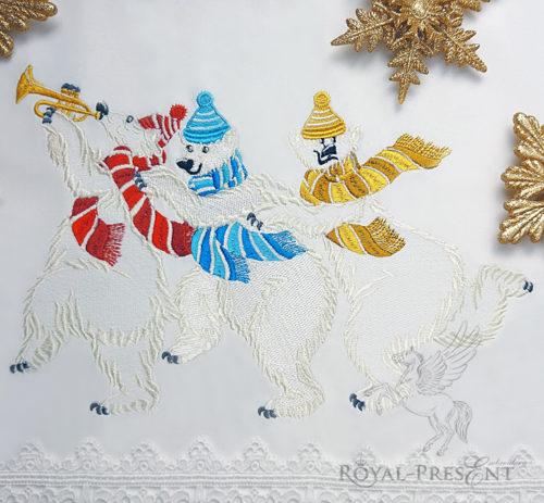 Дизайн машинной вышивки Три полярных медведя