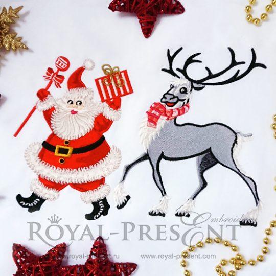 Дизайн машинной вышивки Дедушка Мороз и Рождественский Олень
