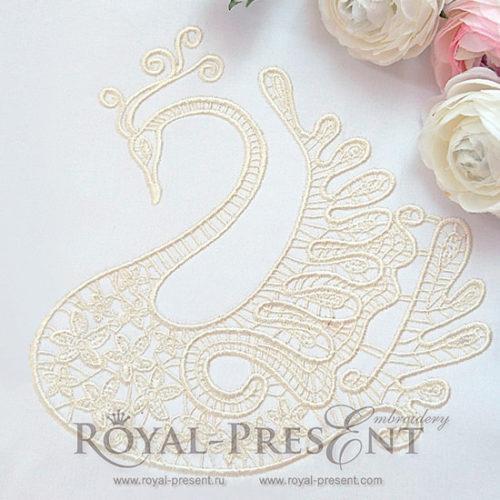 Дизайн машинной вышивки Ажурный свадебный лебедь