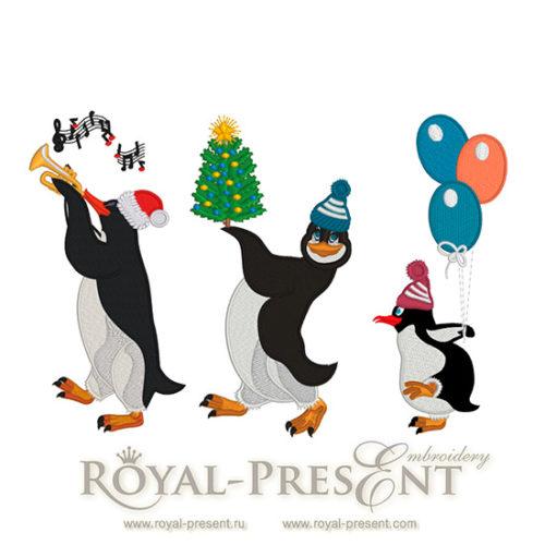Дизайны машинной вышивки Новогодние Пингвины