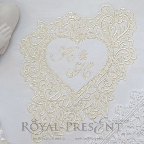 Дизайн машинной вышивки Рамка монограммы Сердце