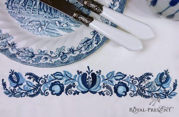 Дизайн машинной вышивки Бордюр Гжель