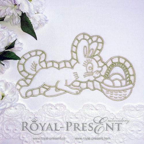 Дизайн машинной вышивки Пасхальный Кролик ришелье