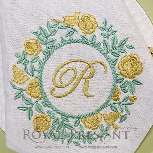 Дизайн машинной вышивки Розовый куст для монограммы