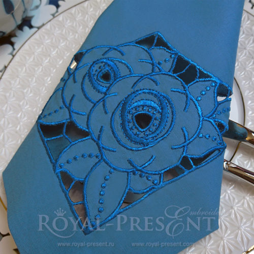 Дизайн машинной вышивки Розы ришелье угол