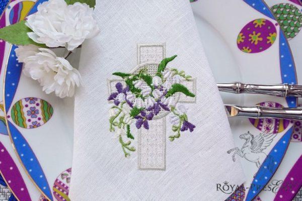 Дизайн машинной вышивки Пасхальный крест с ландышами