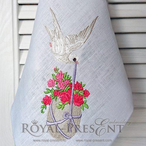 Дизайн машинной вышивки Пасхальный голубь несет яйцо