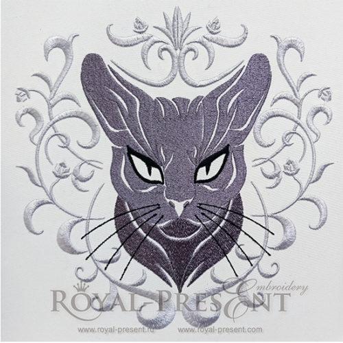 Дизайн машинной вышивки Серый кот