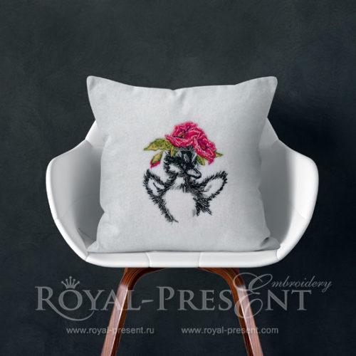 Дизайн машинной вышивки Утенок с маками - 3 размера
