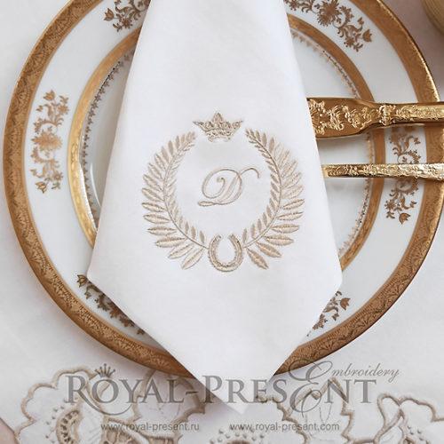 Дизайн машинной вышивки Обрамление Подкова для монограммы